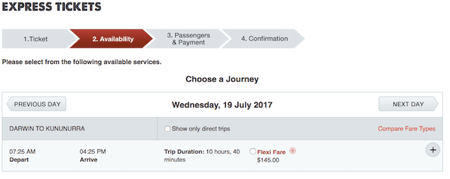 ダーウィンからカナナラまでのバス料金