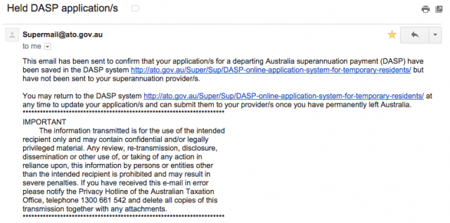 ATOから届くスーパーアニュエーション返金手続きメール