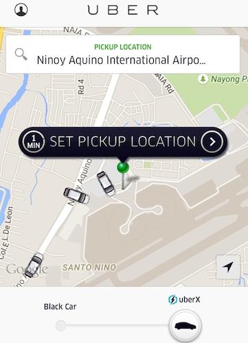 マニラ空港でUber(ウーバー)アプリから配車依頼