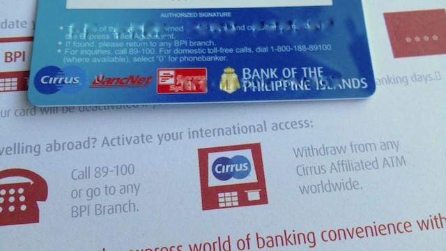 フィリピンbpiのatmカード