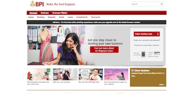 フィリピンBPI銀行オンラインバンキング