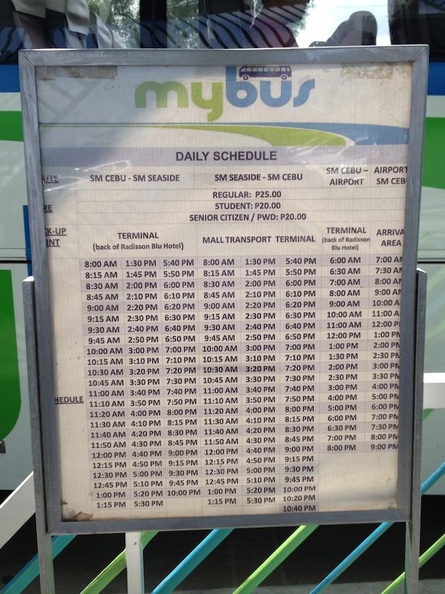マイバス セブ 時刻表
