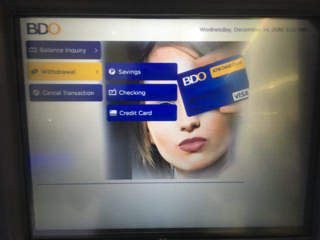 フィリピン クレジットカード atm
