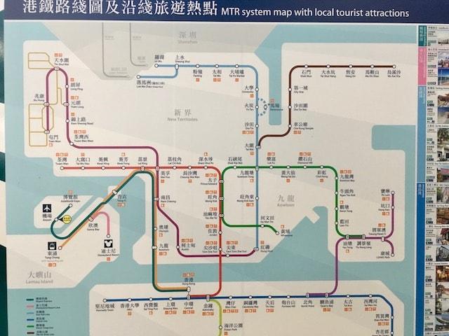 オクトパスカードが使える香港の路線図マップ