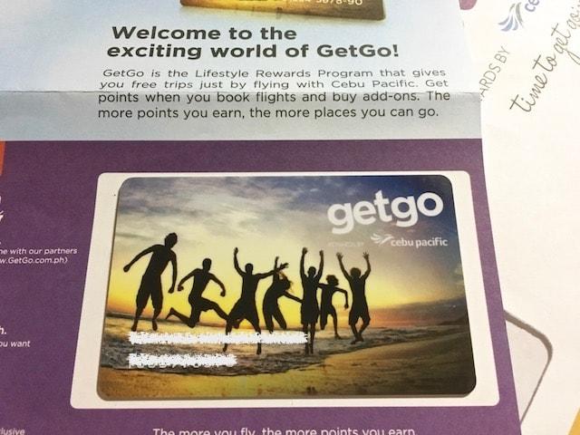 セブパシフィックのGetGoメンバースペアカード