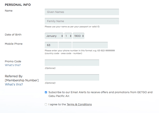セブパシフィックのgetgo会員メンバー登録方法