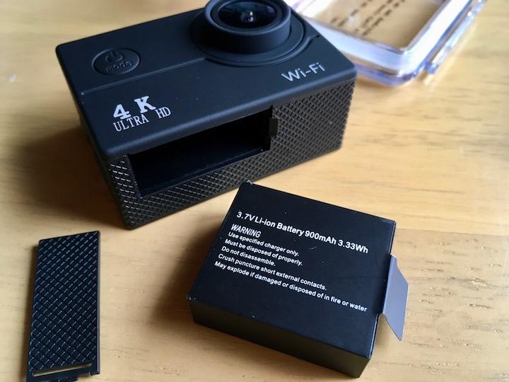 4Kアクションカメラのバッテリー