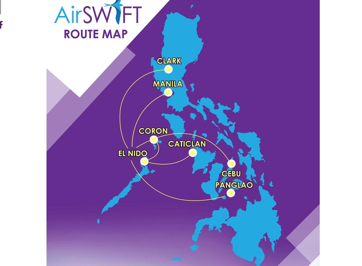 エアスイフト航空のフィリピン国内ルート