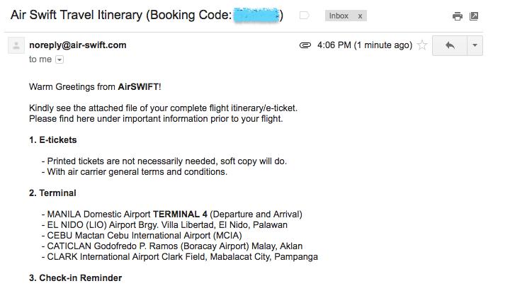 エアスイフト航空から航空券予約メール(Eチケット)が届く