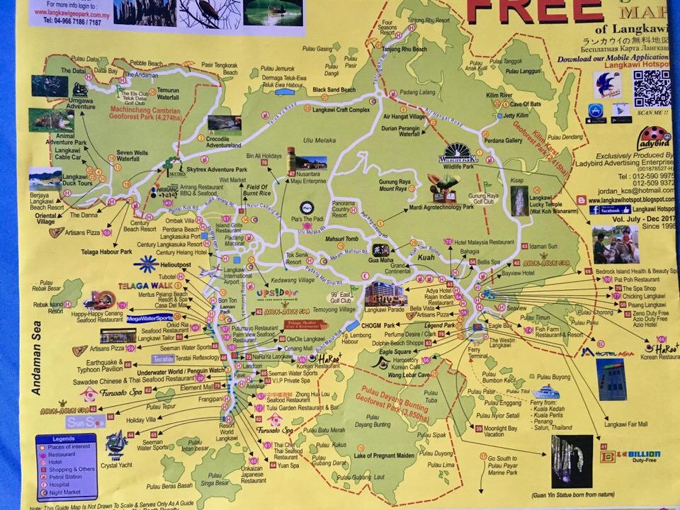 ランカウイ島の観光マップ