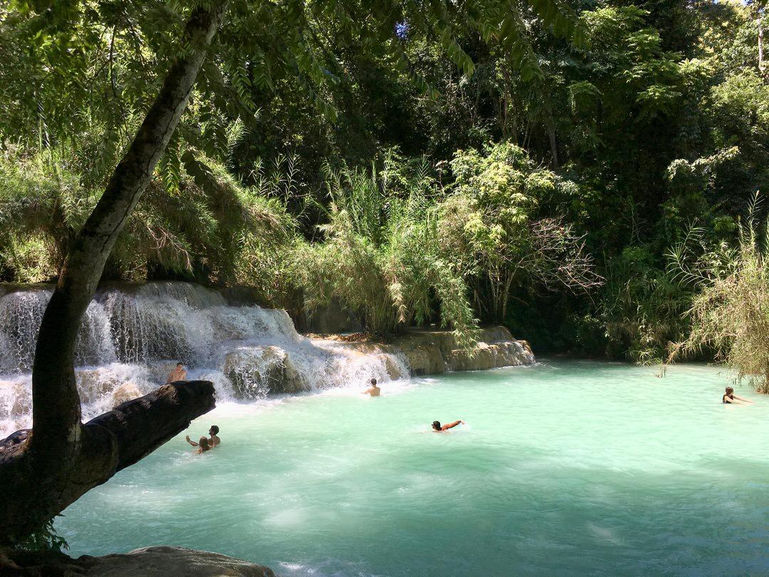 ルアンパバーンのクアンシー滝で泳ぐ