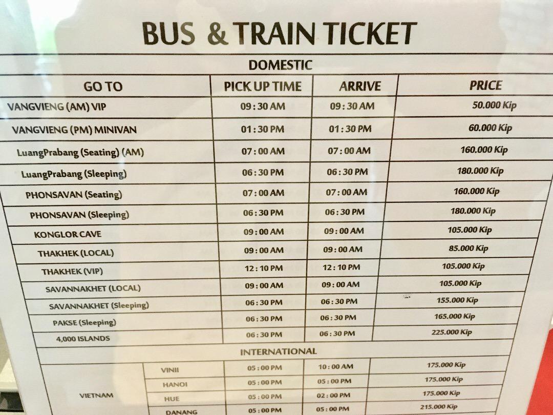 バンビエン行きのバスチケット購入場所と料金