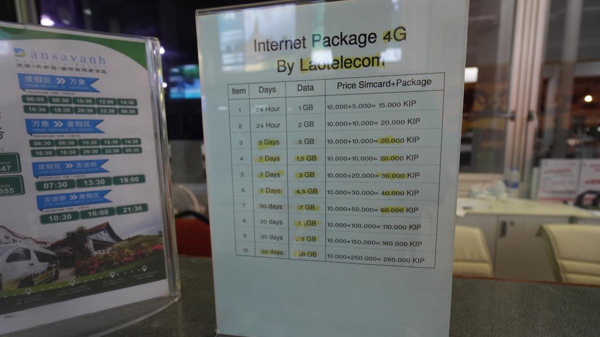 ビエンチャン空港携帯用SIMカード料金表